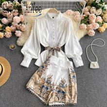 Dwa kawałki ustawić eleganckie damskie garnitur biały bluzka topy i drukowane spodenki z wysokim stanem kobiet garnitur biznesowy moda 2 sztuka zestaw odzież