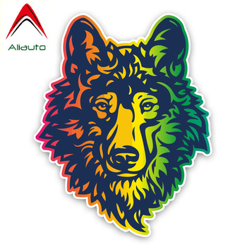 Aliauto Fashion Car Sticker Colored Wolf Head Decoration Vinyl Decal Cover Scratches for Smart Fortwo Hyundai Bmw E92,16cm*13cm image
