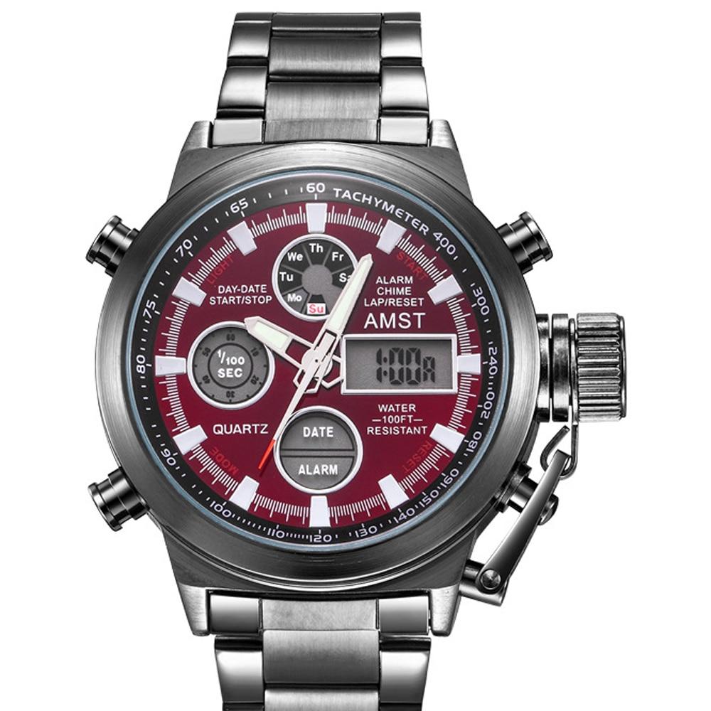 AMST Sport Military Watches Men Waterproof 50M Clock Chronograph Luminous Hands Stop Watch Men Analog Digital Watch Male RelogioQuartz Watches   -
