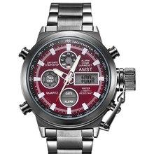 AMST spor askeri saatler erkekler su geçirmez 50M saat Chronograph aydınlık eller dur izle erkekler Analog dijital saat erkek Relogio