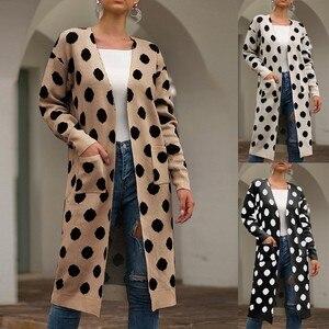 BEAUTY Women Coat with Porket Fashion Women Long Sleeve Knit winter Cardigan Dots Print Coat Long Women Jacket Loose Faxu fur