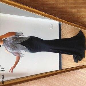 Image 2 - Serene Hill Black Mermaid Sexy Jersey Evening Dresses Gowns 2020 Luxury Beading Tassel Elegant For Women Party LA70346