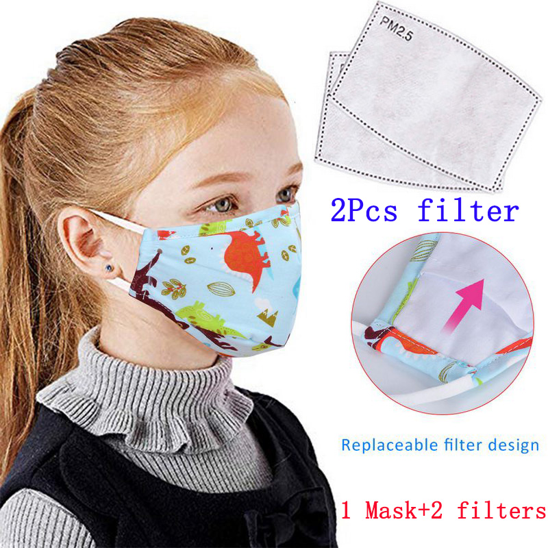 1Pcs PM2.5 Children Mouth Masks Cotton Cartoon Printing Washable Reusable Anti Pollution Fog Dust Mask With 2pcs Filters New