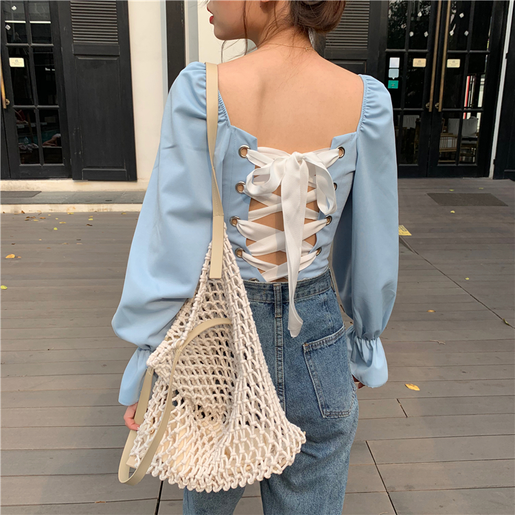 Girls Sweet Square Collar Full Flare Sleeve Cropped Blouses Women's Solid Lace Up Back Blouse Crop Tops For Female