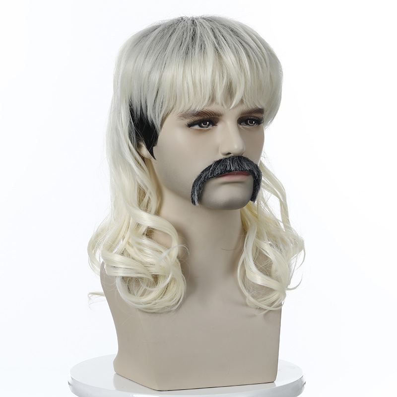 Tiger King Joe Exotic Cosplay Wig Mens Blonde Wig with 6 Earrings Mustache Necklace for Halloween Costume 007