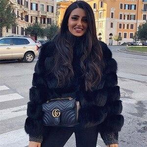 Image 4 - ผู้หญิงธรรมชาติจริงFoxขนสัตว์Winter Outwear 50ซม.ยาวWholeskinของแท้Fox Fur Jacketผู้หญิงเสื้อขนสัตว์เสื้อคลุมสั้น