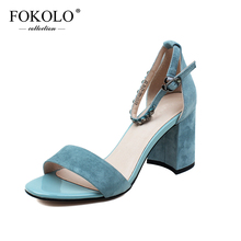 FOKOLO High Heels Women Kid Suede Ankle Strap Cover Heel Sandals New Summer Genuine Leather Handmade Sexy Party Lady Shoes L20 newest hot summer tassel fringe suede leather ankle strappy cover heel back zipper women sandals party high heels shoes woman