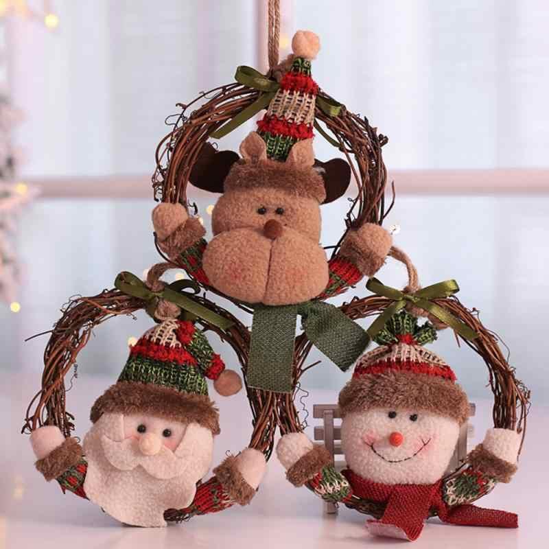 Ornement joyeux d'arbre de noël 1 pièce | Décoration de maison, Navidad guirlande couronne rotin, anneau pour porte murale suspendue, décor de fête de noël
