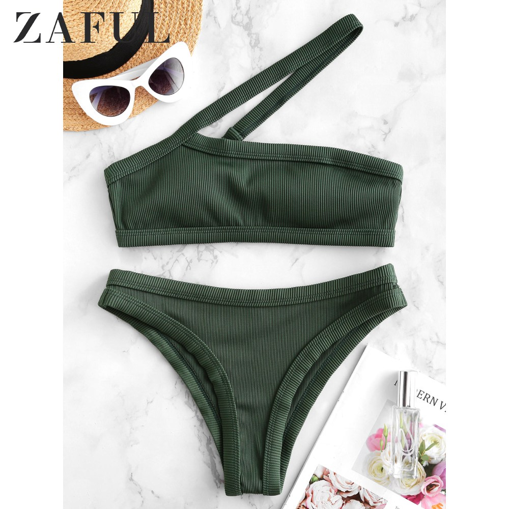 ZAFUL Women Textured Ribbed Asymmetrical One Shoulder Bikini Swimsuit Wire Free Cut Out Bikini Sets Removable Padded Swimwear