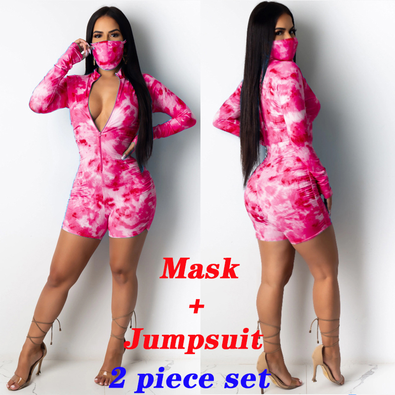Tie-dye Summer Women Onesies Pajamas Long Sleeve Short Jumpsuit Sexy Onesies Pajamas For Adults With Mask Indoor And Outdoor(China)