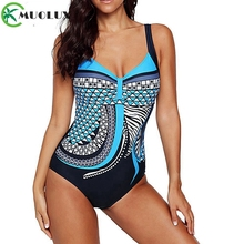 2019 Vintage Print Backless Plus Size Swimwear Women Swimsuit One Piece Monokini Female Large Bathing Suit XXL
