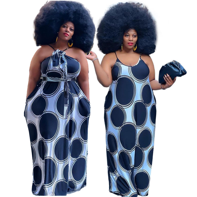 Dot Maxi Dresses for Women Summer 2021 Spaghetti Strap Backless Dress Bohemian Plus Size Slip Dress Wholesale Dropshipping