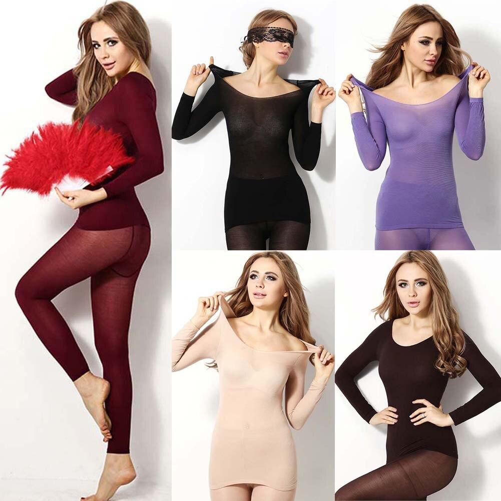 Women's Thermal Underwear Winter Seamless Elastic Thermal Inner Wear Sleepwear Warmer Tops Bottom Suit Two Piece Set 5Colors NEW