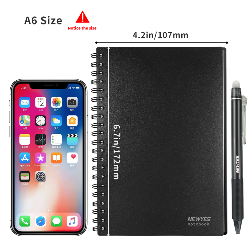 NEWYES A6 size Smart Reusable Erasable Notebook Microwave Wave Cloud Erase Notepad Note Pad Lined With Pen save paper 2