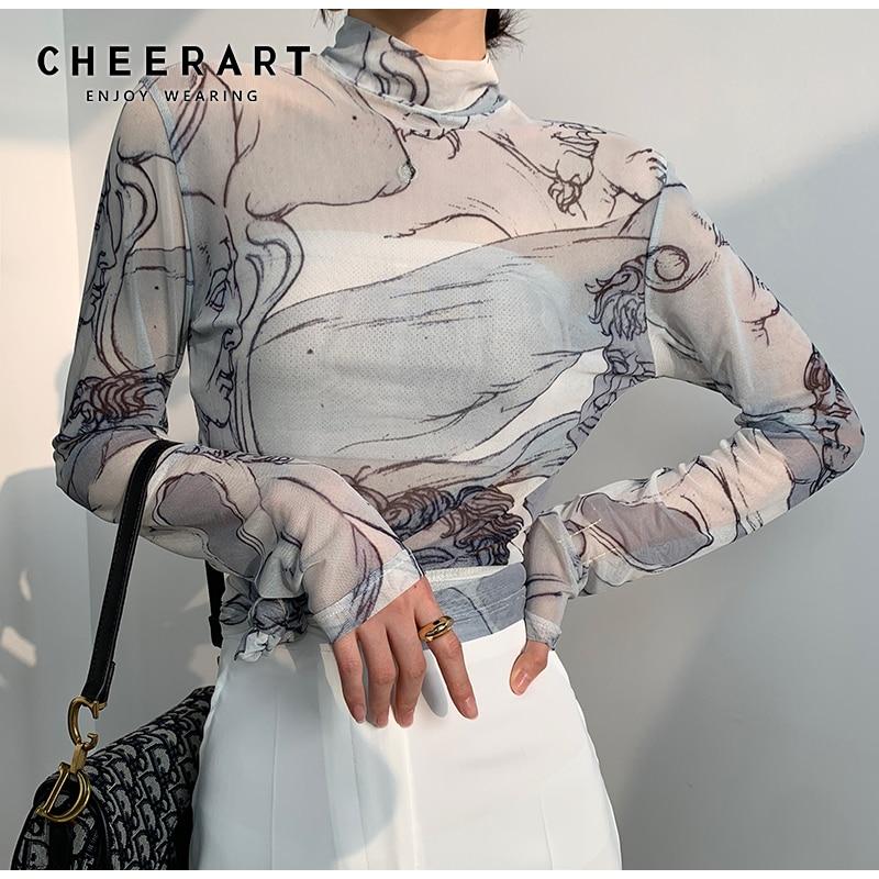 CHEERART Turtleneck Mesh Blouse Women Long Sleeve See Through Top Ladies Sheer Top Renaissance Print Designer Top Clothing