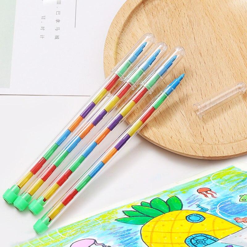 6 Colors Replaceable Crayon Korean Creative Graffiti Kawaii Pens For Kids Painting Oil Drawing Art Supply School Reward Office