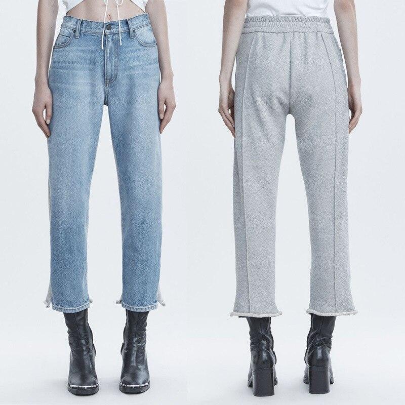 Autumn Winter Patchwork Knit Straight Jeans Women's Pants  A2