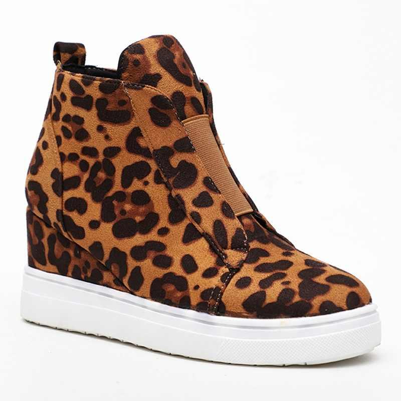 Platform çizmeler leopar kadın ayakkabı kadın kama topuklu yarım çizmeler kadın yan Zip gizli kama botları ilkbahar daireler Boots Mujer