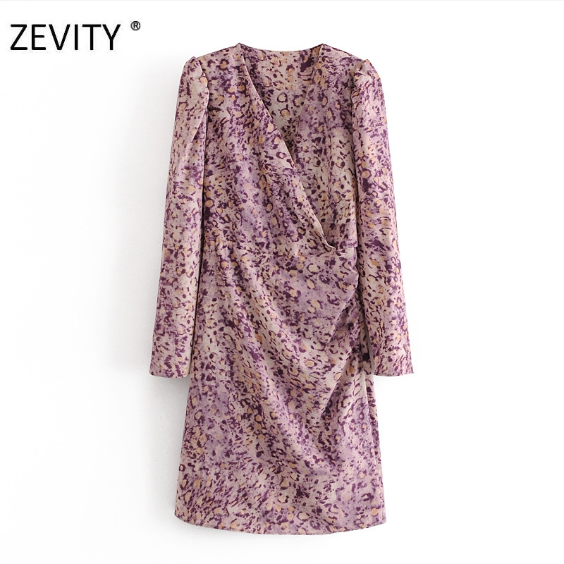 ZEVITY New Women vintage cross v neck leopard print a line Dress Office Lady puff sleeve casual slim Vestido Chic Dresses DS4375