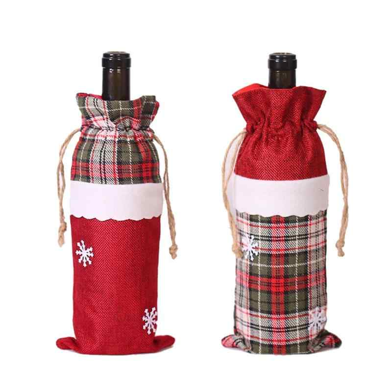 Cute Christmas Snowflake Linen Red Wine Bottle Cover Bags Xmas Table Decor