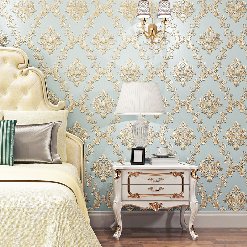 European Style Damascus 3D Coining Wallpaper Living Room Bedroom TV Backdrop Wall Hotel Engineering Wallpaper