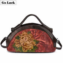 купить GO-LCUK Genuine Leather Tote Handbag Women Crossbody Shoulder Bag Women's Messenger Bags Top-handle Casual Pack Style Designer дешево