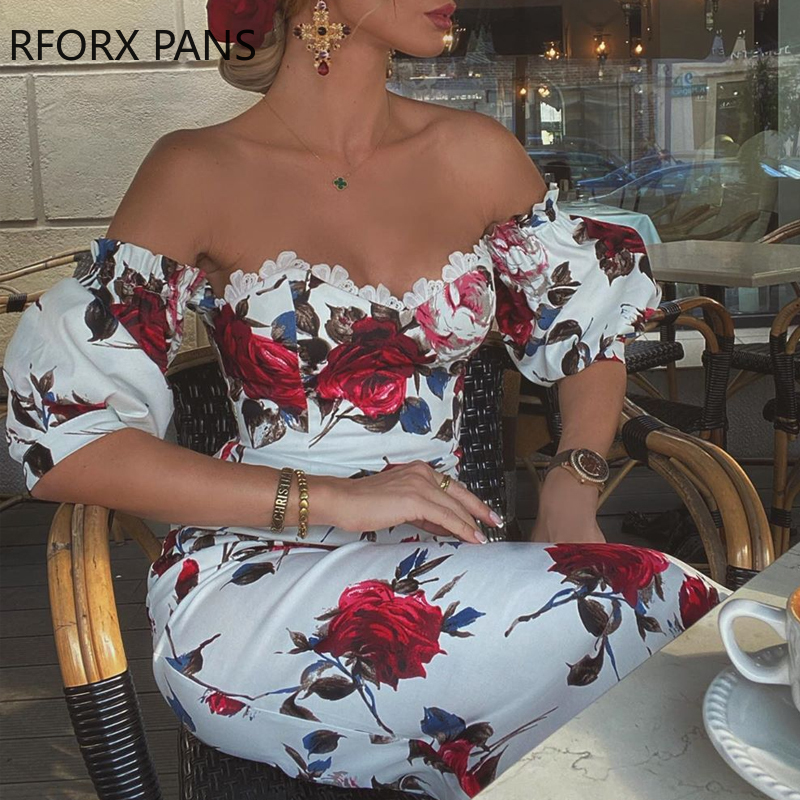 Women Short Sleeve Floral Print Lace Trim Midi Dress Bodycon Sexy Party Dress