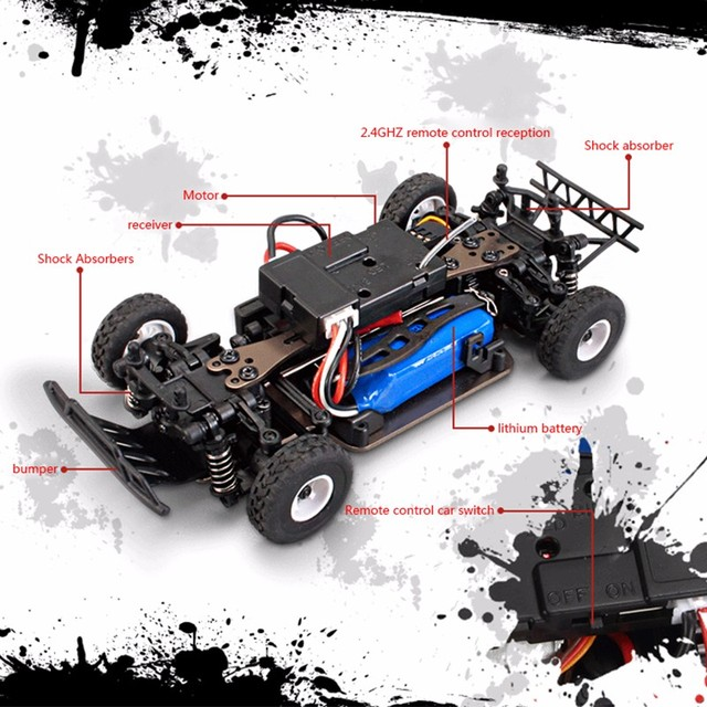 K999 rc car 1:28 off-road vehicle 2.4G electric four-wheel drive remote control car black gold chassis speed 30km RC off-road 2