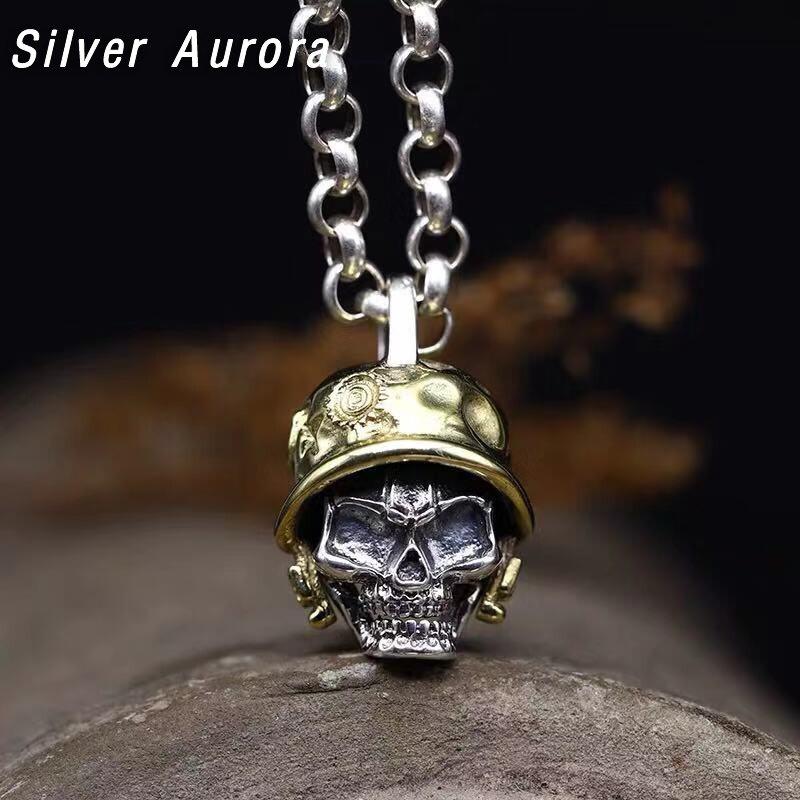 925 argent vintage crâne hommes pendentif collier Vintage Punk Rock Biker hommes barre accessoires bijoux Sterling