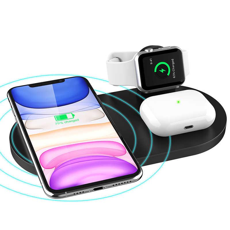 10W QI 3 ב 1 אלחוטי מטען עבור Iphone 11 פרו Iphone X אלחוטי טעינת מזח עבור Airpods פרו מטען מחזיק עבור אפל שעון