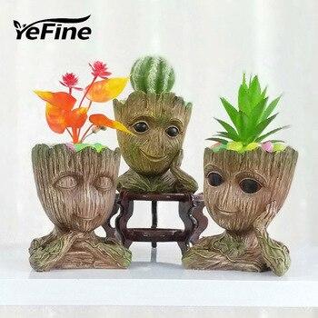 YeFine Resin Outdoor Flower Pot Big Planter Pots Cartoon Design Garden Succulent Bonsai Pots Balcony Decorations
