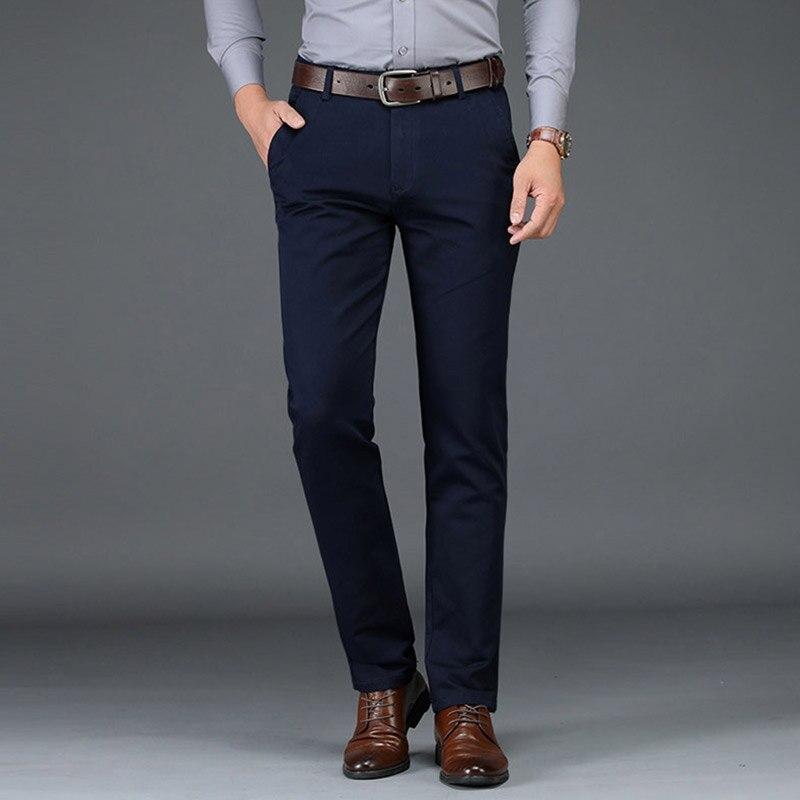 2019 Winter Pants Men Fashion Business Stretch Men Chinos Trousers Casual Black Cotton Pants Men Pentalon Homme Mens Clothing