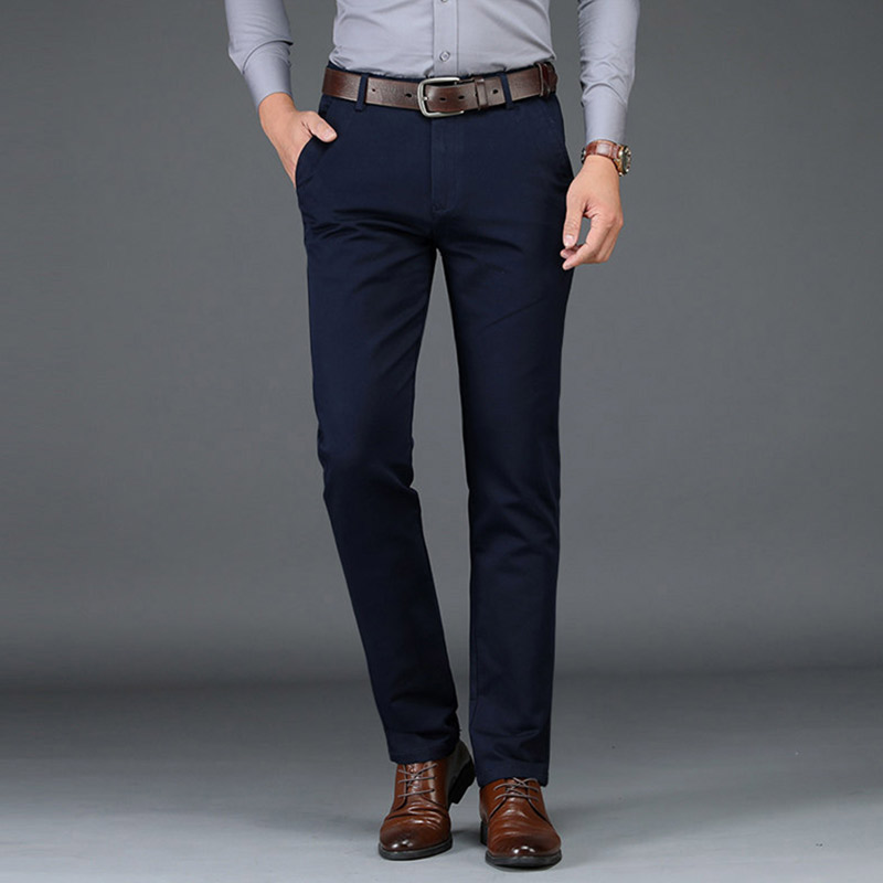 2020 Winter Pants Men Fashion Business Stretch Men Chinos Trousers Casual Black Cotton Pants Men Pentalon Homme Mens Clothing