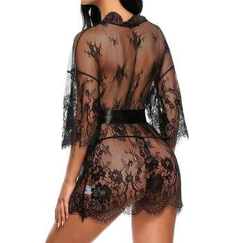 Sexy Lingerie Lace Robe Dress Women Nightwear Underwear Babydoll Sleepwear Sexy Ladies Bikini Cover Up Beach Dress 4