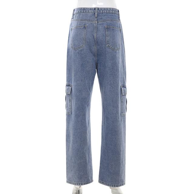 Weekeep Pockets Patchwork High Waist Jeans Women Streetwear Straight Jean Femme Blue 100% Cotton Cargo Pants 8