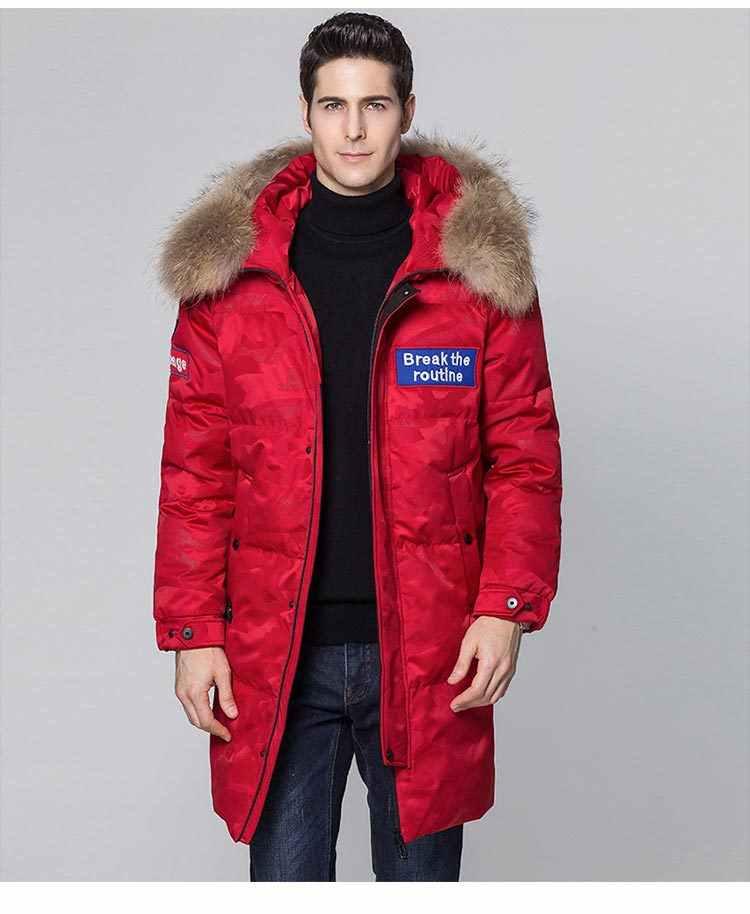 คุณภาพสูง Mens แคนาดาคู่ลงเสื้อฤดูหนาวกันน้ำกลางแจ้งลงจริงขนสัตว์ windproof
