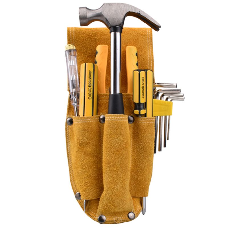 Leather Carpenter Electrician Tool Waist Bag Belt Pouch Pliers Screwdriver Case 95AA