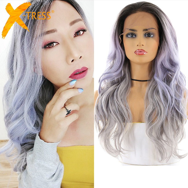 Green Gray Ombre Color Synthetic Hair Lace Wigs For Black Women X-TRESS 24inch Long Wavy 13x4inch Lace Front Wig With Baby Hair image