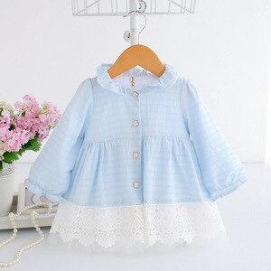 Image 3 - 2020 frühling A linie Peter Pan Kragen Kinder Baby Prinzessin Kleid Neugeborenen Baby Mädchen Party Kleider Baby Kleidung 0  2T 2 Farbe