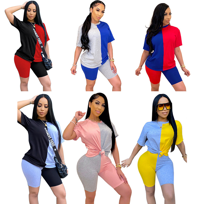 ©Closeout DealsSummer new arrival short-sleeved ladies stitching color two-piece set short sleeve&shorts set for women'
