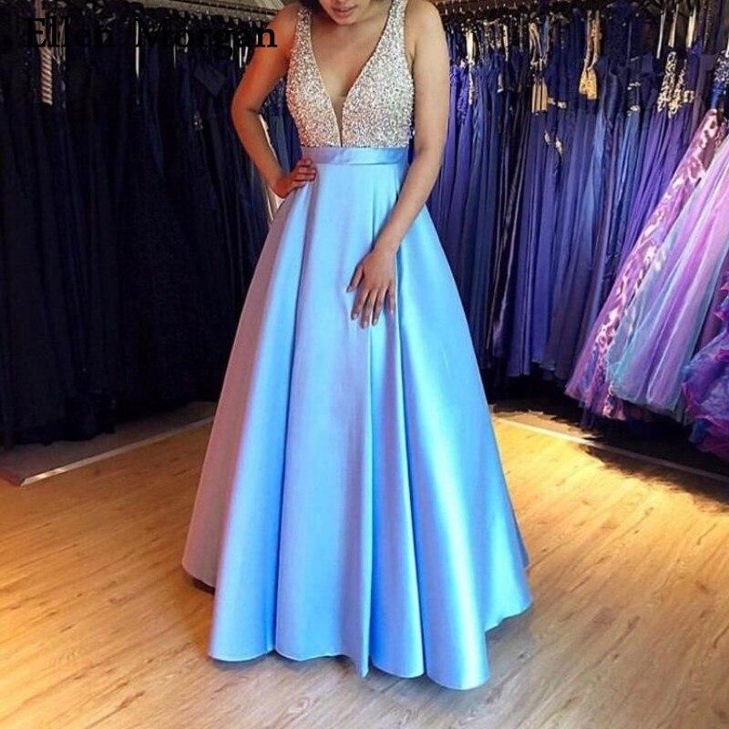 Long Sarin   Prom     Dresses   2019 with Sparkly Beaded Sequins Sexy V Neck Floor Length Party Gowns Custom Made Vestido De Festa