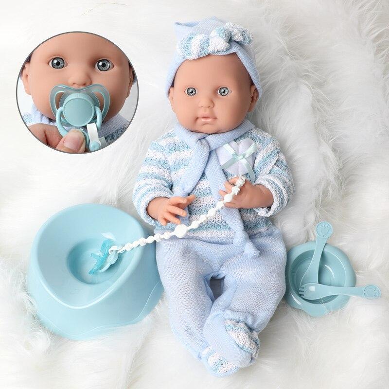 16 zoll lebensechte newborn wasserdichte bebe reborn puppe für spielzeug kinder 40cm Simulation weichen Silikon schnuller kette bildung puppen