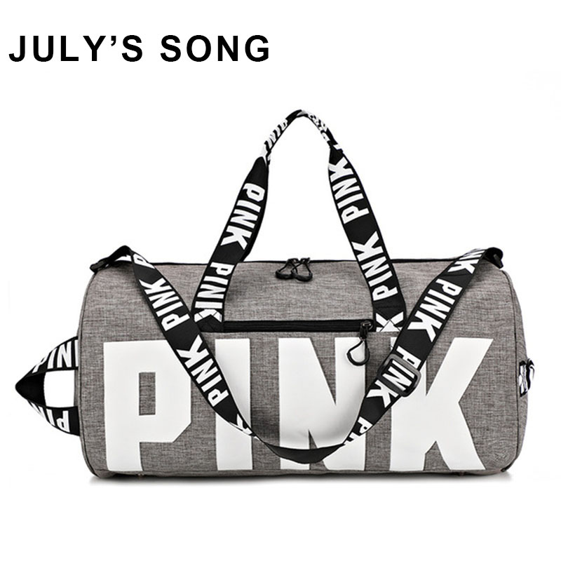 JULY'S SONG Big Capacity Gym Bags Pink Pattern Waterproof Travel Bags For Women Outdoors Training Yoga Sport Duffle Storage Bags(China)