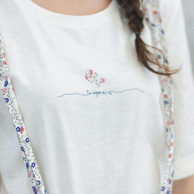 INMAN 2020 primavera nuevo Arriavl puro y con estampado ligero camiseta Linda dulce Shivering Suspender traje de dos piezas - 4