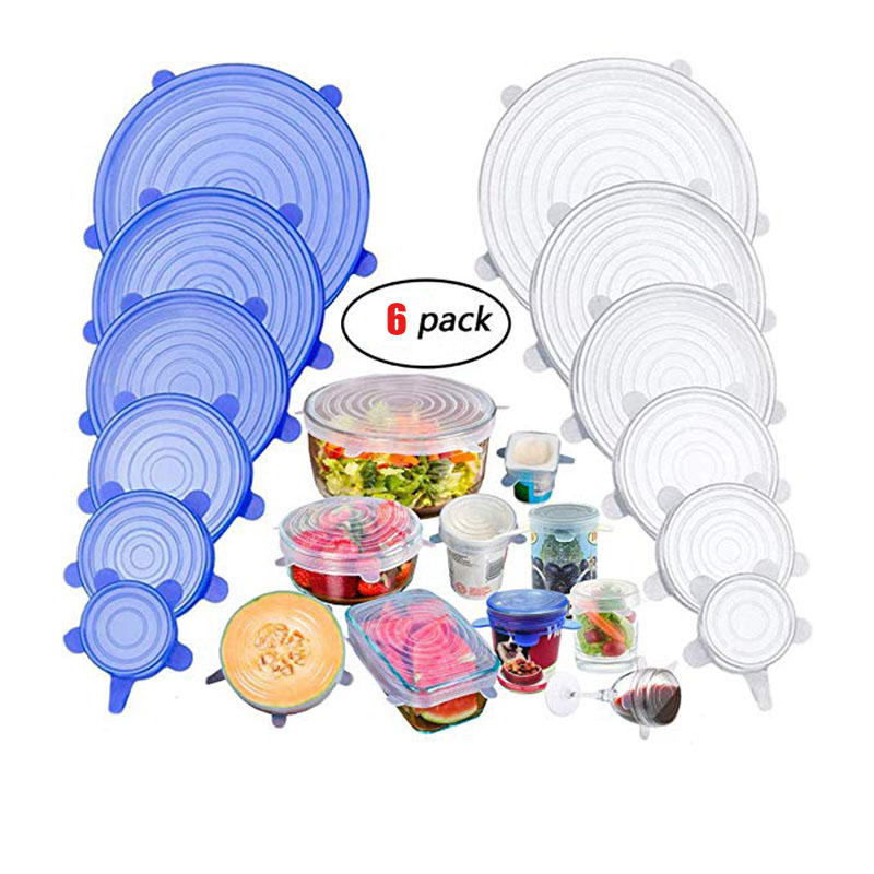 6 Pcs/set Silicone Fresh-keeping Cover Food Sealing Cover Zero Waste Kitchen Accessories Reusable Protective Film Container