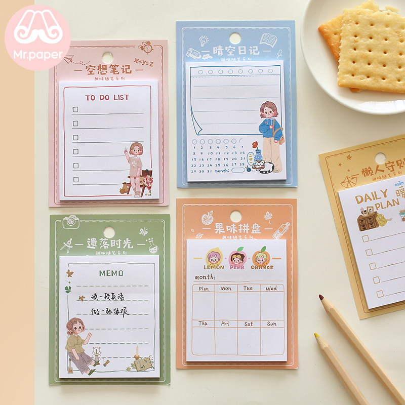 Mr Paper 30pcs/lot 6 Designs Girlish Style Diary Weekly Plan Memo Pads Sticky Notes Writing Memo Pads School Office Supplies