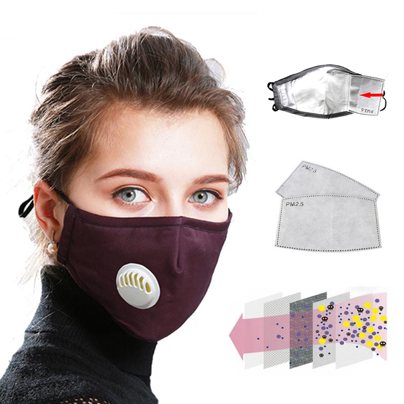 Anti Pollution PM2.5 Mouth Mask Dust Respirator Washable Reusable Masks Cotton Unisex Mouth Muffle Anti Pollution Antiviral Mask