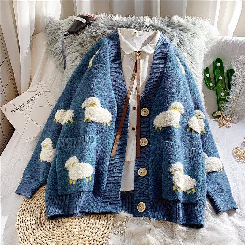 Outono e inverno nova moda feminina coreana casual camisola e cardigan manga comprida com decote em v botão oversized casaco cardigan