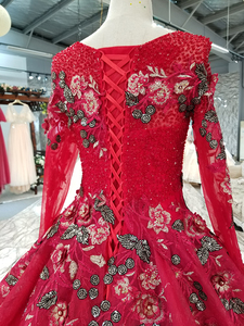Image 5 - BGW HT33020 Color Lace Flower Beautiful Dress Quick Shipping From China Long Sleeve O neck Lace Up Back Cheap Evening Dress 2020