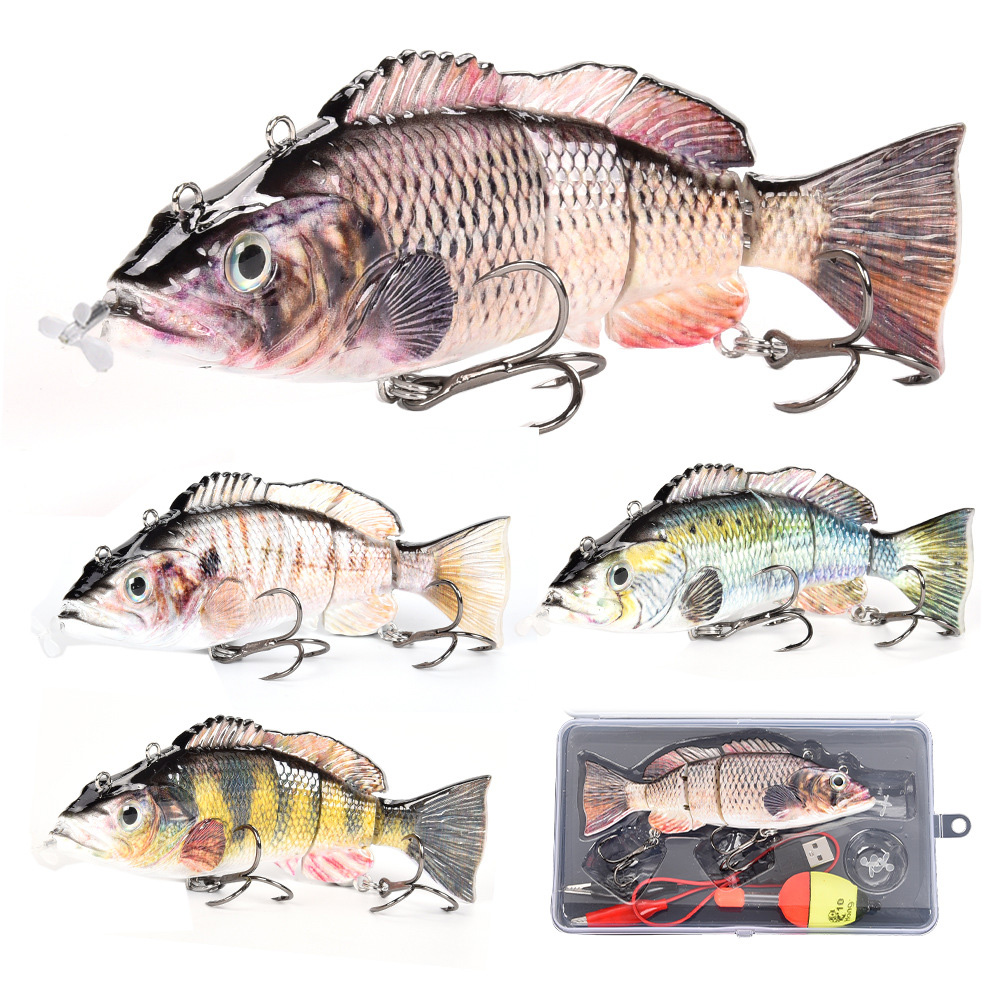 13.5cm/iscas de pesca elétricas usb recarregável falso isca 4 seção auto hélice swimbait piscando led luz wobblers